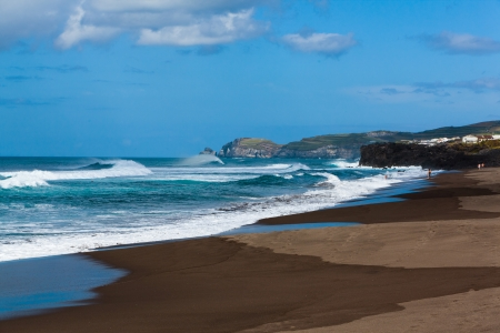 ribeira: beach at St  Miguel on the island of Azores