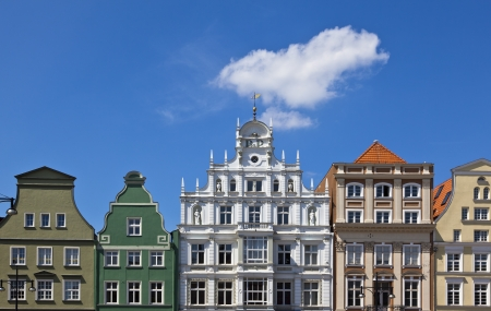 rostock: Old houses in the city of Rostock Stock Photo
