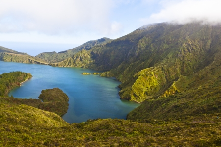volcanic volcano of Lagoa do fogo on San Miguel Azores - craterlake of the Lago do fogo volcano on Sao Miguel Azores