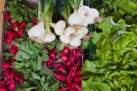 fresh veggies at a market stall Stock Photo