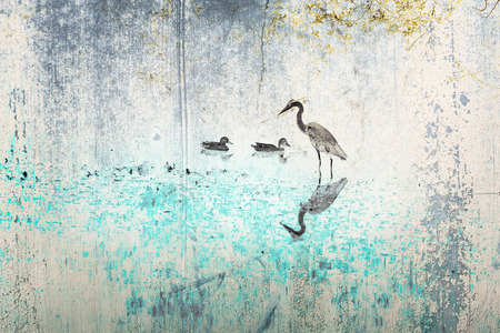 Heron and ducks in shilouette with texture and colors photo