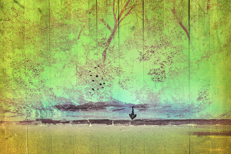 Heron on a wall with texture and color photo