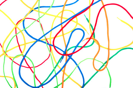 shoestring: colorful shoelaces on white background