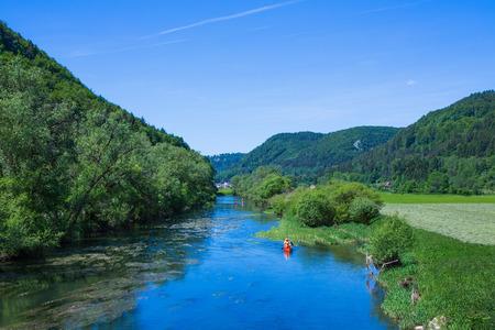 folyami Donau Dél-Németországban, a felső rész Stock fotó