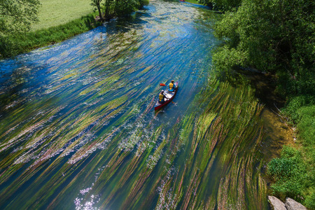 canoe trip at the river donau in germany Banco de Imagens