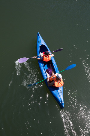 canoe trip at the river donau in germany Stock Photo