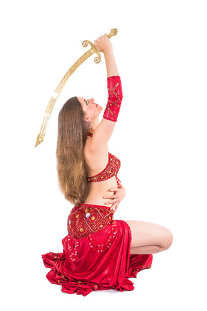 woman with sword: woman sword dancer in red dress