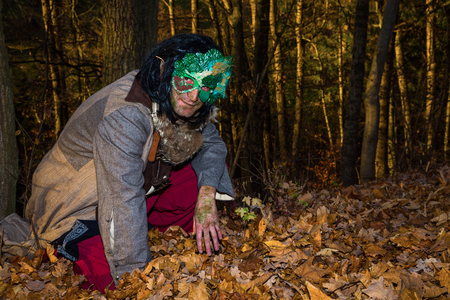 leafs: Gnome squats in forest between leafs