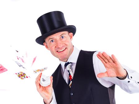 skat: Magician flips cards Stock Photo