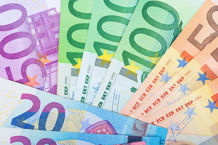 20 euro: 500, 100, 50 and 20 euro bills in detail Stock Photo