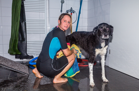 therapeutical: Therapist drying dog after swimming Stock Photo