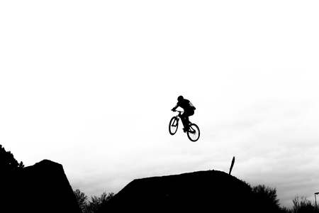 Biker jumps high in the sky