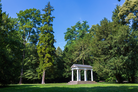 Temple in classicism architecture in the park of Karlsruhe
