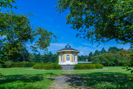 scenic tee house in the park of Karlsruhe Stock Photo
