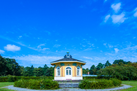 scenic tee house in the park of Karlsruhe Editorial