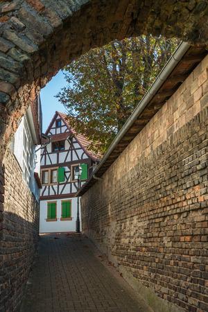 alley made of brickstones in Jockgrim Germany