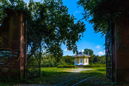 classicism: picturesque teehouse in the park of Karlsruhe Stock Photo