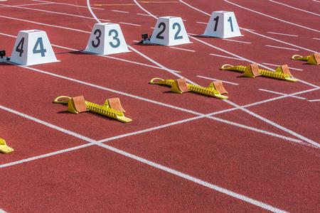 start line of sprint in the athletics stadium Stock Photo
