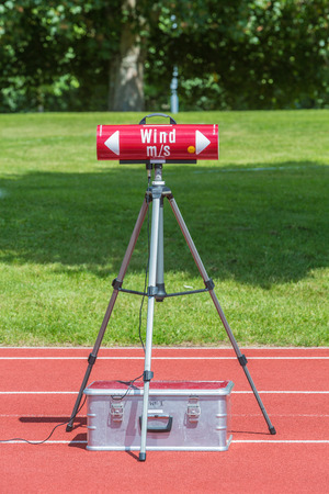 wind measuring machine in stadium during competition