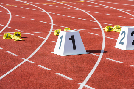 statium running track with start line and number 1 Stock Photo