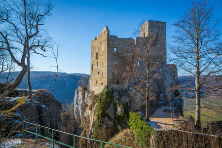 view to the tower of castle Reussenstein on the Suabian Alb in Germany