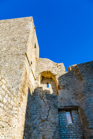 old walls and blue sky at the castle Reussenstein in Germany