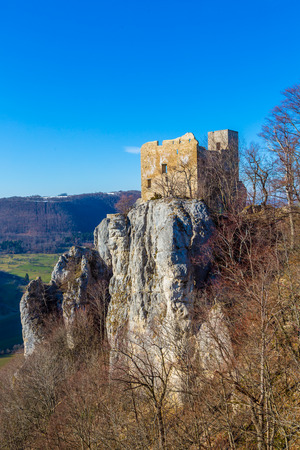 view to the castle Reussenstein on the Suabian Alb in Germany Stock Photo