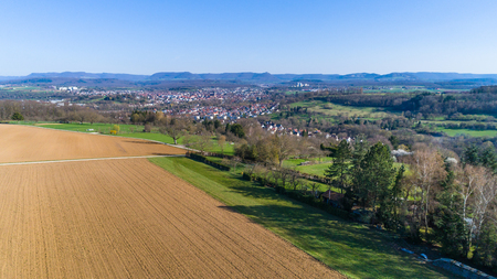 aerial panorama of the suabian alb with nice view Stock Photo