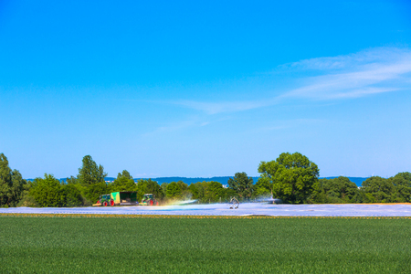 artificial watering of the fields in agriculture Stock fotó