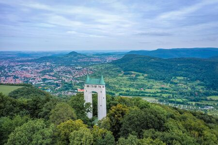 aerial of the Schoenbergturm on the Suabian Alb at Reutling in Germany