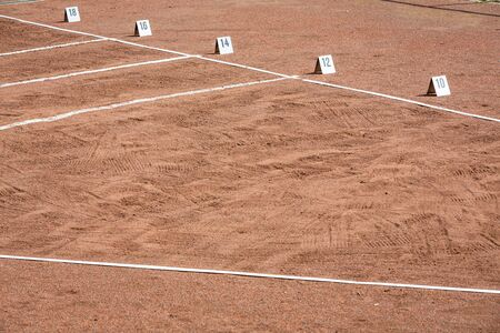 shot put area in stadium with lines and numbers for the width Stok Fotoğraf