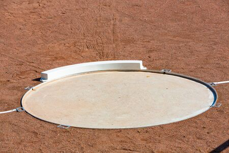 detail of the shot put area in stadium with copy space