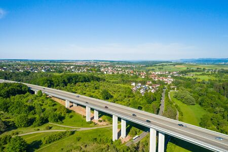 construction of a concrete viaduct at the Aichtal valley near Stuttgart in Germany
