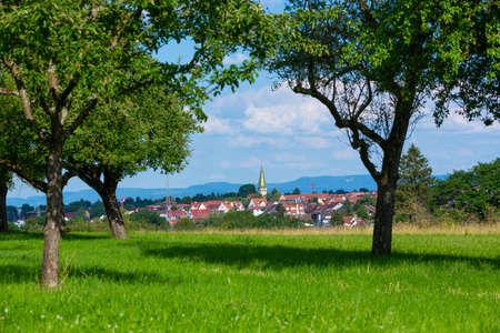 rural village Stuttgart Plieningen seen from an apple orchard near by