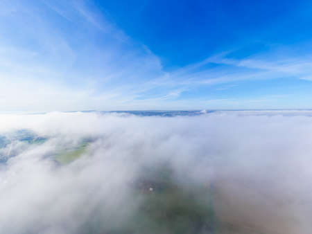 aerial of the sky, high fog and the suabian alp in the background