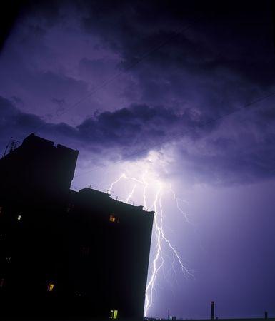 Lightning strike in the night