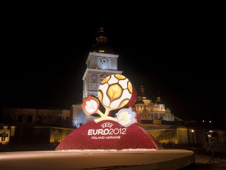 KYIV, UKRAINE-DECEMBER 14, 2009 - Official logo for UEFA EURO 2012™. After presentation of the official logotype for UEFA EURO 2012™. Mykhailivska Square, Kyiv, Ukraine, December 14, 2009.