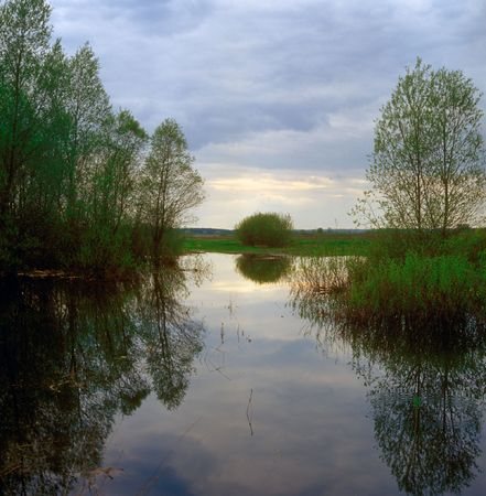 Reflection in water. Sumy region, Ukraine. Stock Photo - 7100754
