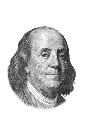 gravure: Ritratto di Benjamin Franklin sulla banconota da un centinaio di dollari. Isolated on white. Immagine in bianco e nero.