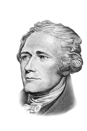 Alexander Hamilton portrait on ten US dollars banknote. Isolated on white. Black and white picture. Stock Photo