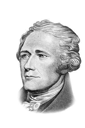Alexander Hamilton portrait on ten US dollars banknote. Isolated on white. Black and white picture. Archivio Fotografico