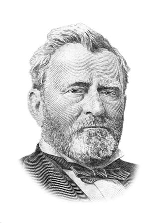 Ulysses S. Grant portrait on fifty US dollars banknote. Isolated on white. Black and white picture.