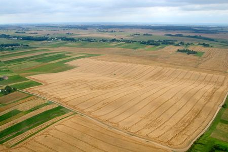 Meadows and fields. Aerial image. Rivne region, Ukraine. Archivio Fotografico