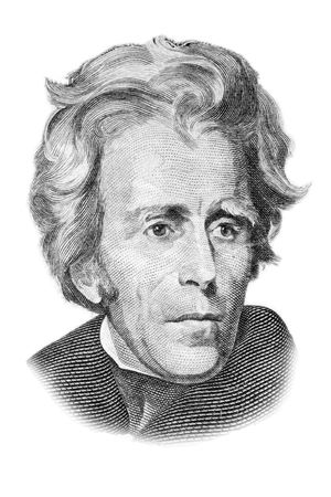 Andrew Jackson portrait on twenty US dollars banknote. Isolated on white. Black and white picture.