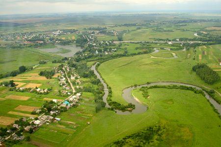 Ukrainian village - aerial view. Rivne region, Ukraine.