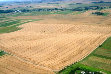 Meadows and fields. Aerial image. Rivne region, Ukraine. Stock Photo