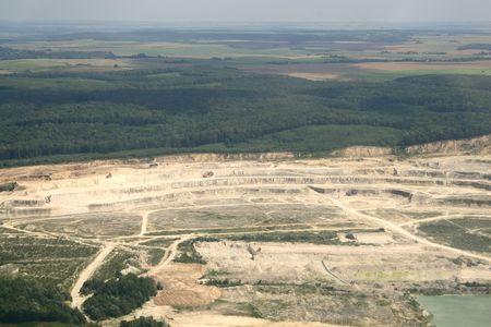 Open-pit strip mine industrial site equipment. Aerial view. Rivne region, Ukraine. Stock Photo - 7633948