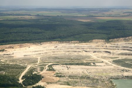 Open-pit strip mine industrial site equipment. Aerial view. Rivne region, Ukraine. Stock Photo - 7633948