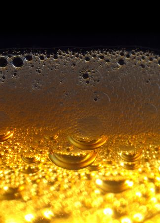 Macro shot of light beer with froth.