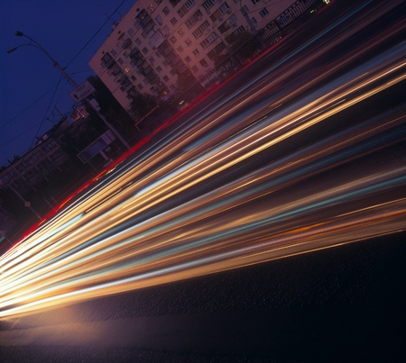 Long exposure of night traffic in Kyiv, Ukraine. Please see some similar images in my portfolio. Stock Photo